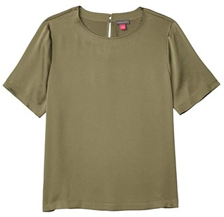 Vince Camuto Short Sleeve Rumple Hammer Satin Blouse w/ Trapunto Stripe (Light Sage) Women's Clothing