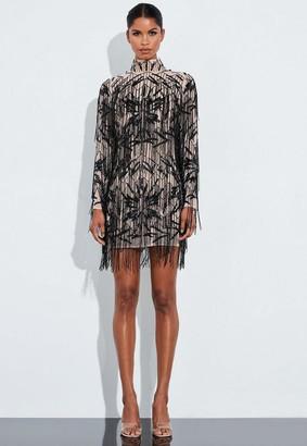 Missguided Black Fringed High Neck Mini Dress