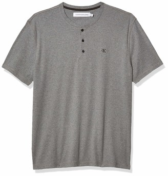Calvin Klein Men's Short Sleeve Henley Ribbed Logo T-Shirt