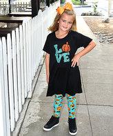 Beary Basics Black & Teal 'Love' Tee & Orange Leggings - Toddler & Girls