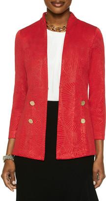 Misook Button Trim Lustrous Floral Knit Blazer