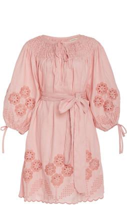 Innika Choo Hans Ufmafrok Embroidered Linen Mini Dress