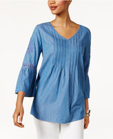 Style&Co. Style & Co Embroidered Denim Top, Only at Macy's