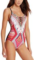 Seafolly Desert Tribe Deep V Maillot One-Piece Swim Suit - Women's