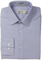 Haggar Men's Wide Line Stripe Point Collar Regular Fit Long Sleeve Dress Shirt