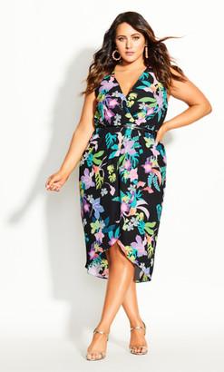 City Chic Moody Tropic Dress - black