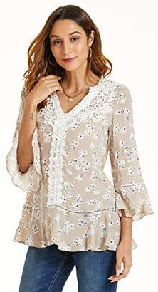 SONJA BETRO Women's Floral Printed Rayon Lace Trim Ruffle Hem Tunic Tops Blouse//