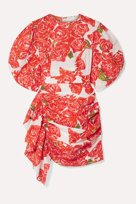Rhode Resort Pia Ruched Floral-print Cotton-voile Mini Dress - Red
