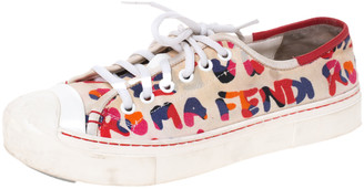 Fendi Multicolor Logo Printed Canvas Lace Low Top Sneakers Size 37
