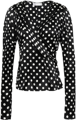 Caroline Constas Wrap-effect Polka-dot Stretch-silk Satin Blouse