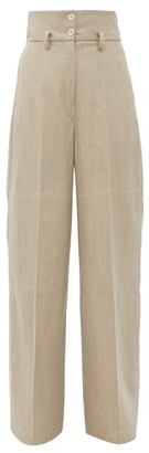Lemaire High-rise Wool-twill Wide-leg Trousers - Light Grey