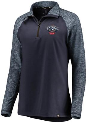 Möve Women's Fanatics Branded Navy/Heathered Navy New Orleans Pelicans Made to Static Performance Raglan Sleeve Quarter-Zip Pullover Jacket