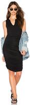 Krisa Split V Dress in Black. - size L (also in M,S,XS)