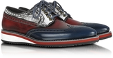 Forzieri Red, White and Blue Leather Wingtip Derby Shoes