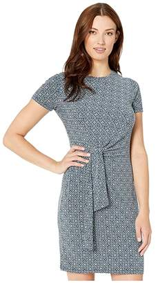 MICHAEL Michael Kors Aziza Short Sleeve Tie Twist Dress (True Navy/Sea Green) Women's Clothing