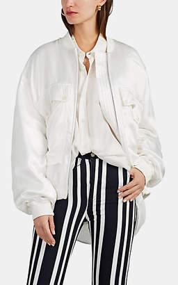 Katharine Hamnett Women's Rene Silk Satin Bomber Jacket - White