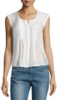 Frame Victorian Button-Front Top, Blanc