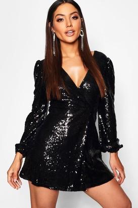boohoo Sequin Long Sleeve Wrap Skater Dress