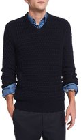 Theory Agnoss Textured Cable-Knit Sweater, Eclipse