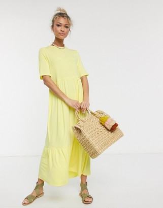 ASOS DESIGN tiered smock t-shirt midi dress in lemon