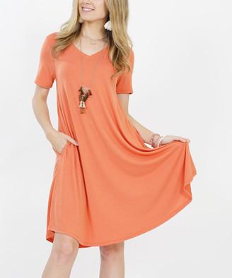 Ash Lydiane Women's Casual Dresses ASHCOPPER Copper V-Neck Short-Sleeve Curved-Hem Pocket Tunic Dress - Women
