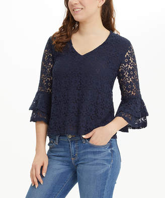 I. Madeline Women's Blouses NAVY - Navy Lace Tiered Bell-Sleeve V-Neck Top - Women