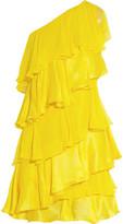 Halston Tiered One-Shoulder Silk-Chiffon And Satin Mini Dress