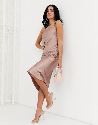 Asos Design DESIGN scoop neck midi satin slip dress-Pink