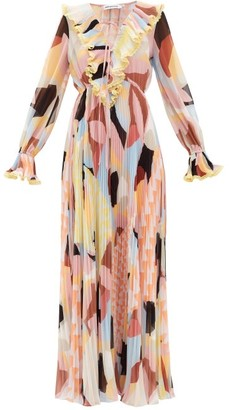 Self-Portrait Ruffled Geo-print Plisse-georgette Maxi Dress - Multi