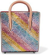 Christian Louboutin Paloma Nano Embellished Metallic Textured-leather Tote - Pink