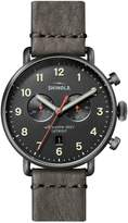 Shinola Canfield Stainless Steel Leather-Strap Chronograph Watch