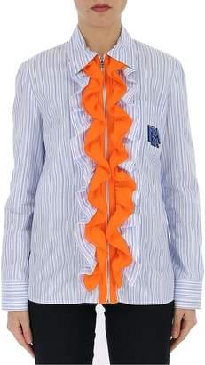 Prada Pinstriped Ruffle Trim Shirt