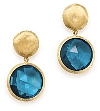 Marco Bicego 18K Yellow Gold Jaipur London Blue Topaz Double Drop Earrings