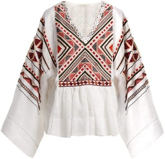 Vita Kin - Malta Embroidered Linen Top - Womens - White Multi