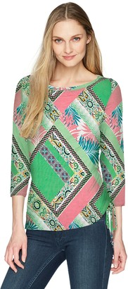 Ruby Rd. Women's Printed 3/4 Sleeve Knit Top with Side Ruching