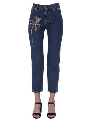 MSGM Embellished Straight Leg Jeans