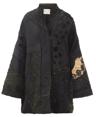 By Walid Basma Beaded & Embroidered Silk Evening Coat - Black