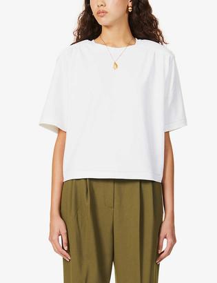 REMAIN Birger Christensen Verona padded-shoulders stretch-organic cotton T-shirt
