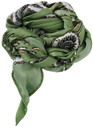 Acne Studios Silk Paisley Print Scarf Green