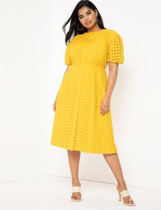 ELOQUII Puff Sleeve Lace Dress