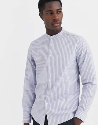Asos Design DESIGN slim fit striped oxford shirt with grandad collar in gray