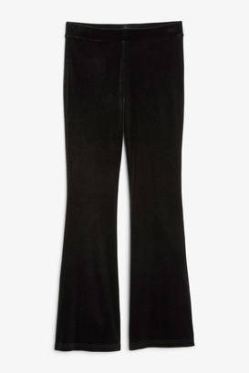 Monki Flared velvet leggings