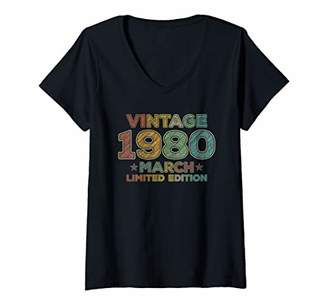 Womens 40th Birthday Gift Vintage March 1980 Forty Years Old V-Neck T-Shirt