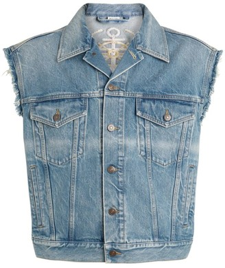 Gucci Embroidered Denim Sleeveless Jacket