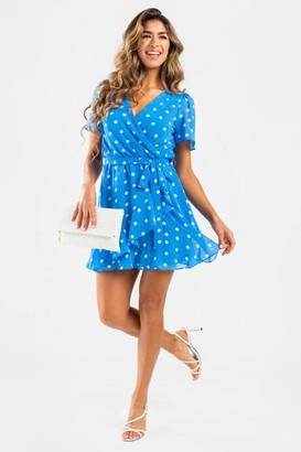 francesca's Natasha Polka Dot Wrap Dress - Blue