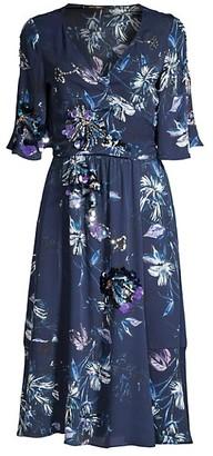 Kobi Halperin Floral Embellished Faux-Wrap Midi-Dress