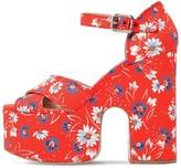 Miu Miu 125mm Printed Cotton Platform Sandals