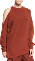 Tibi Cozy Cutout Melange Sweatshirt, Burnt Paprika
