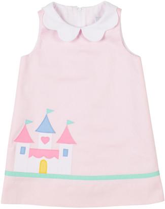 Florence Eiseman Girl's Castle-Print Scalloped Sleeveless Dress, Size 2-6X