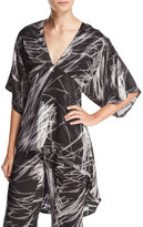 Halston High-Low Printed Kimono Top, Black Reflection